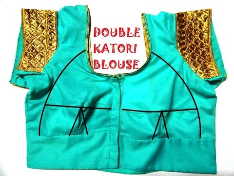 Double Katori blouse - drafting, cutting and stitching | with triple cord piping