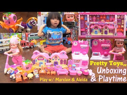Thumbnail: Toy Dolls for Little Girls. Pink Doll House Play Set, Kitchen Set Toy, Princess Carriage and More!