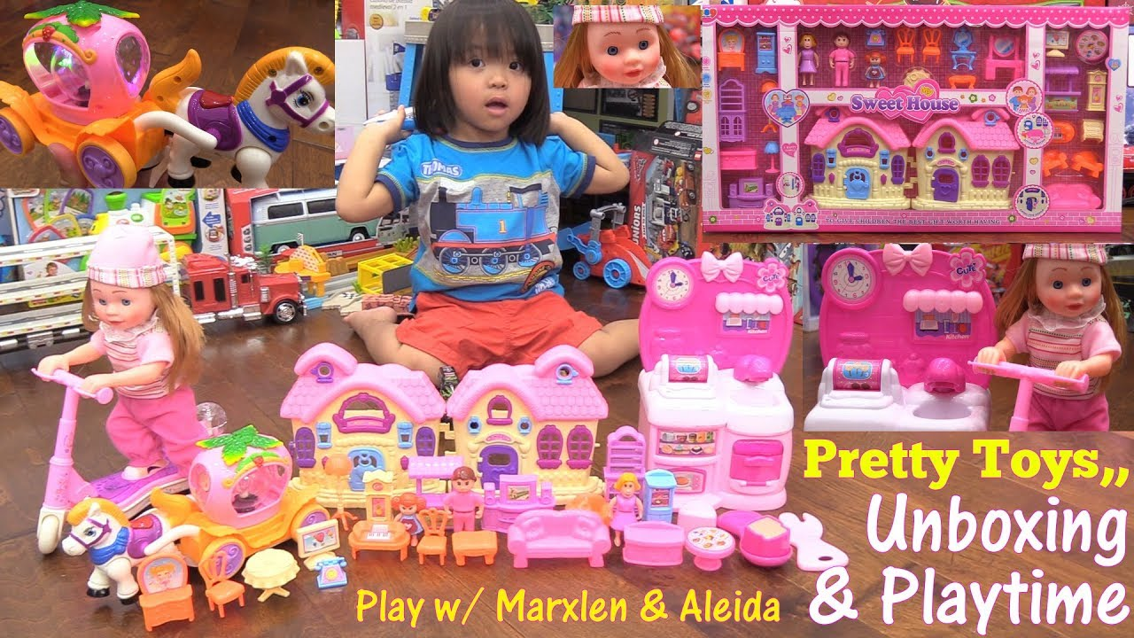 Toy Dolls For Little Girls Pink Doll House Play Set