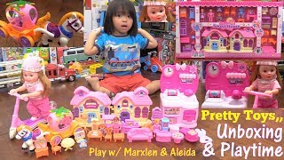 Toy Dolls for Little Girls. Pink Doll House Play Set, Kitchen Set Toy, Princess Carriage and More!
