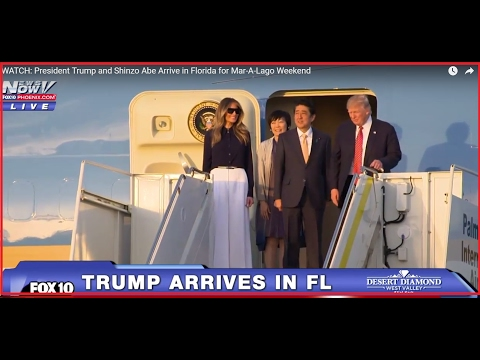 WATCH: President Trump and Shinzo Abe Arrive in Florida for Mar-A-Lago Weekend