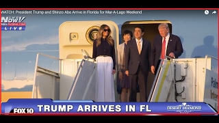 WATCH: President Trump and Shinzo Abe Arrive in Florida for Mar-A-Lago Weekend (FNN)