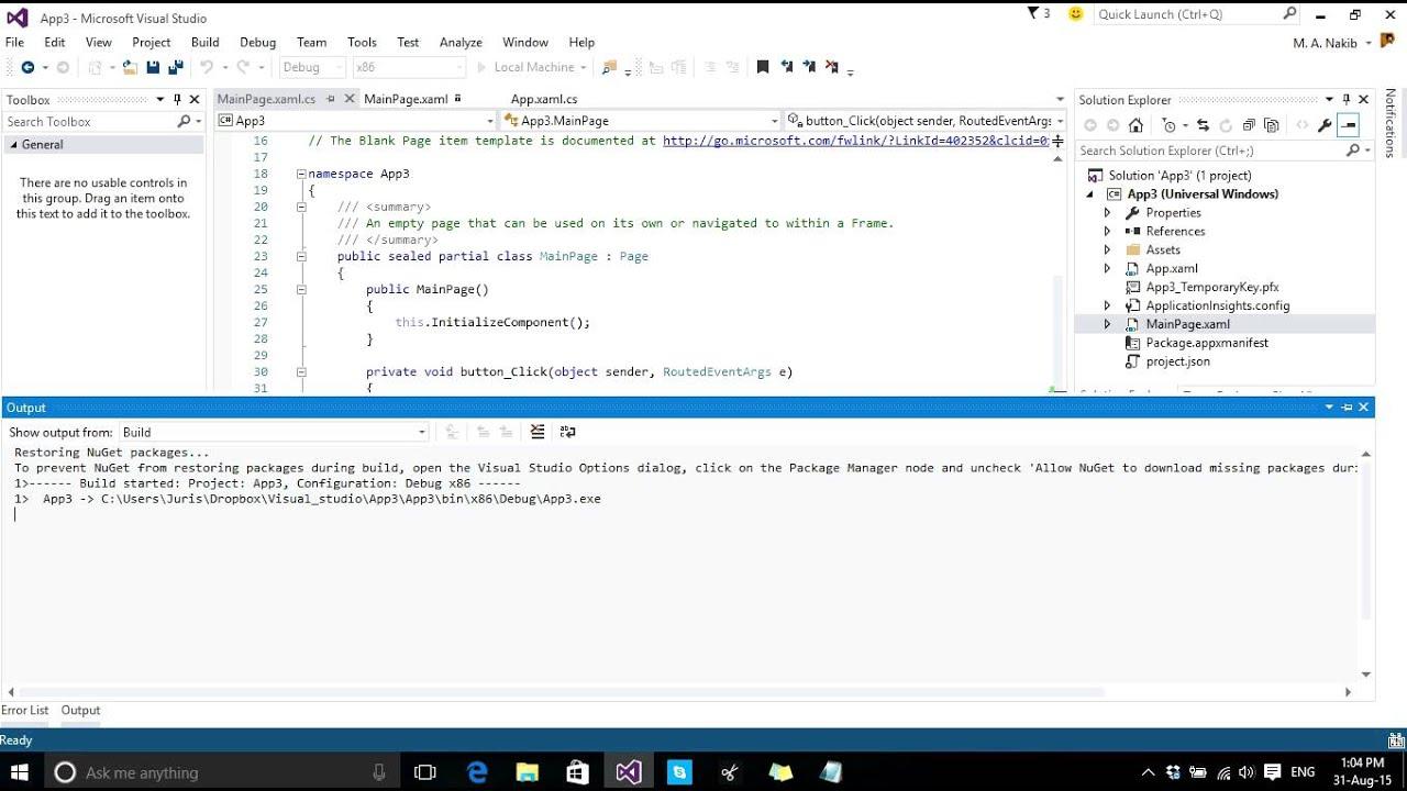 Beginner Universal windows Platform apps