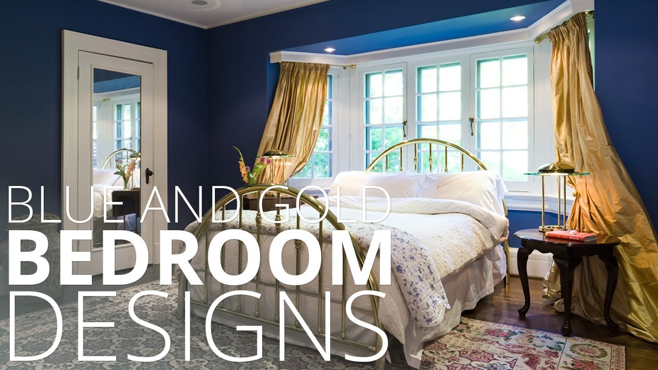 Blue and Gold Bedroom Designs - Homedesignlover - YouTube