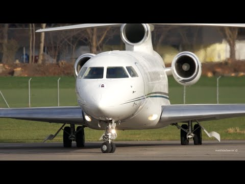 Dassault Falcon 7X Heavy Loaded Take-Off at Bern Airport