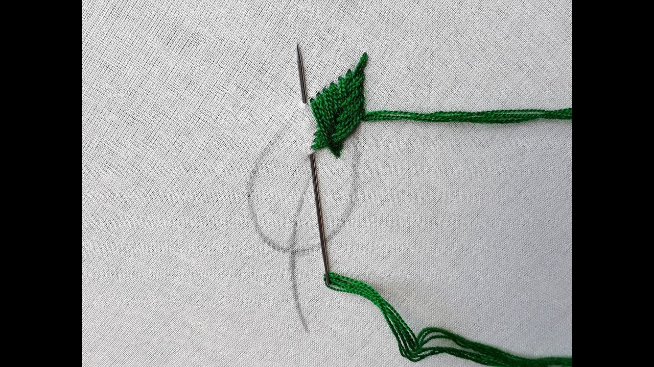 Hand embroidery Fishbone leaf stitch   Fishbone stitch tutorial