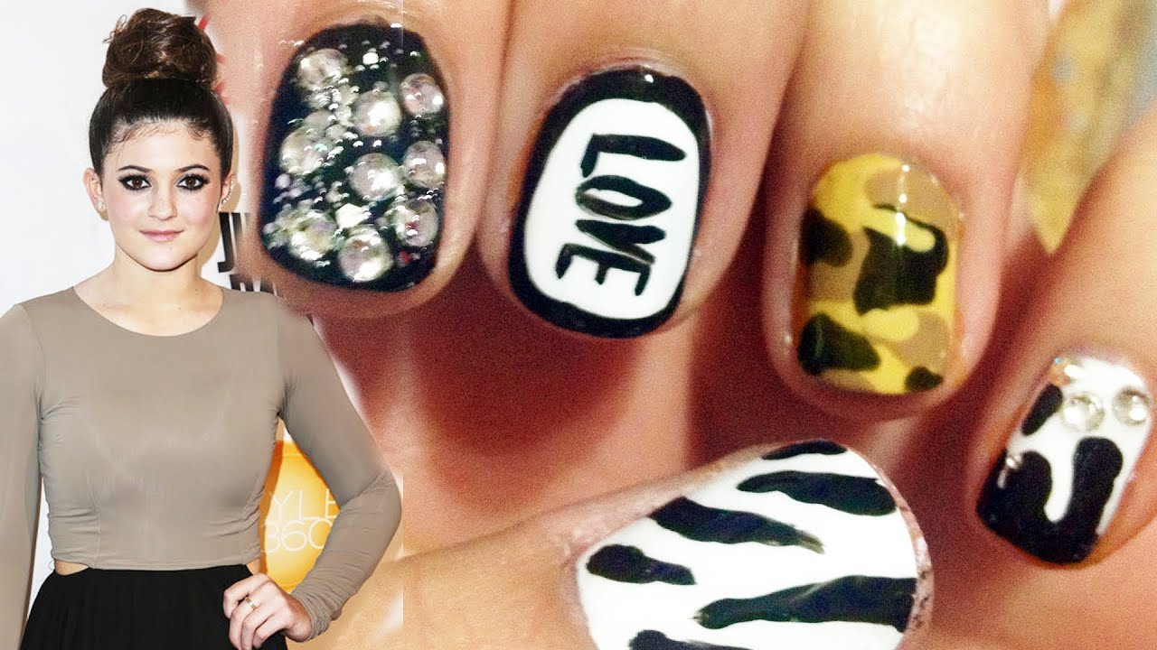 Mix 'n' Match Nails ♥ Kylie Jenner Inspired ! (Camouflage, Border ...