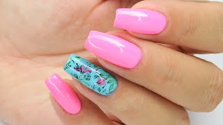 Flowers pattern nails art Tutorial / Stardoro #neonnails #flowersnails