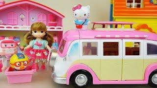 Hello kitty and baby doll camping car toys baby doli play thumbnail