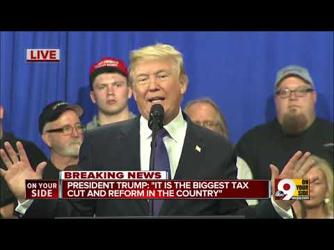 President Donald Trump promotes Republican tax plan at Cincinnati area business