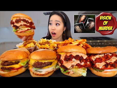 2x2 FRIED CHICKEN BURGER Vs 2x2 ANIMAL STYLE IN-N-OUT BURGER MUKBANG