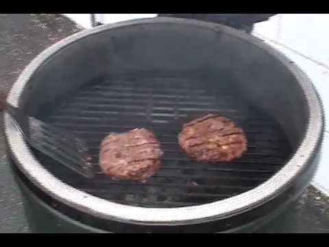 Brett cooks burgers on the Big Green Egg - YouTube