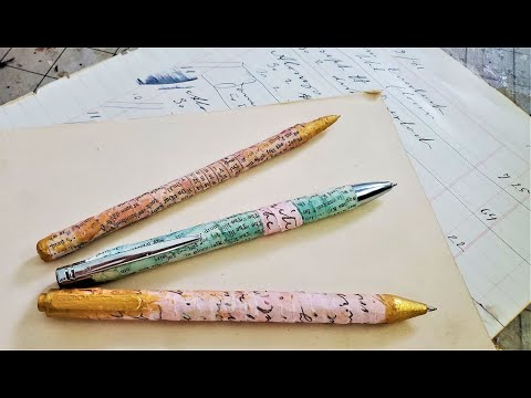 """How To Make """"PRETTY PENS"""" for Junk Journals!""""! Ep 79: Using Up Book Pages! The Paper Outpost"""