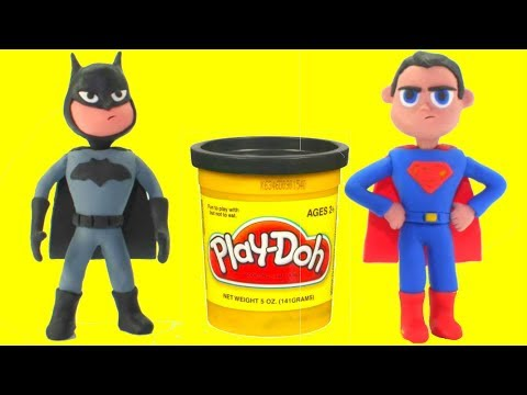 Superman & Batman Play Doh Cartoons Hulk Frozen Elsa Superhero Babies Stop Motion