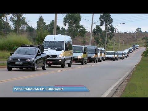 Motoristas de vans escolares aderem manifestação aos caminhoneiros em Sorocaba