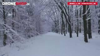 Confined spaces drone flying on a snow covered hillridge, Utrechtse Heuvelrug, short version
