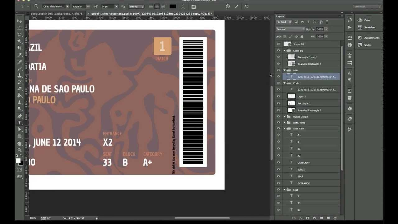 Making Of Goool Ticket Design (Photoshop)   YouTube  Concert Ticket Layout