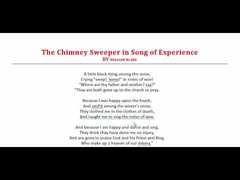 The Chimney Sweeper In Song Of Experience By William Blake অনরস ২য বরষ বল Romantic Poetry