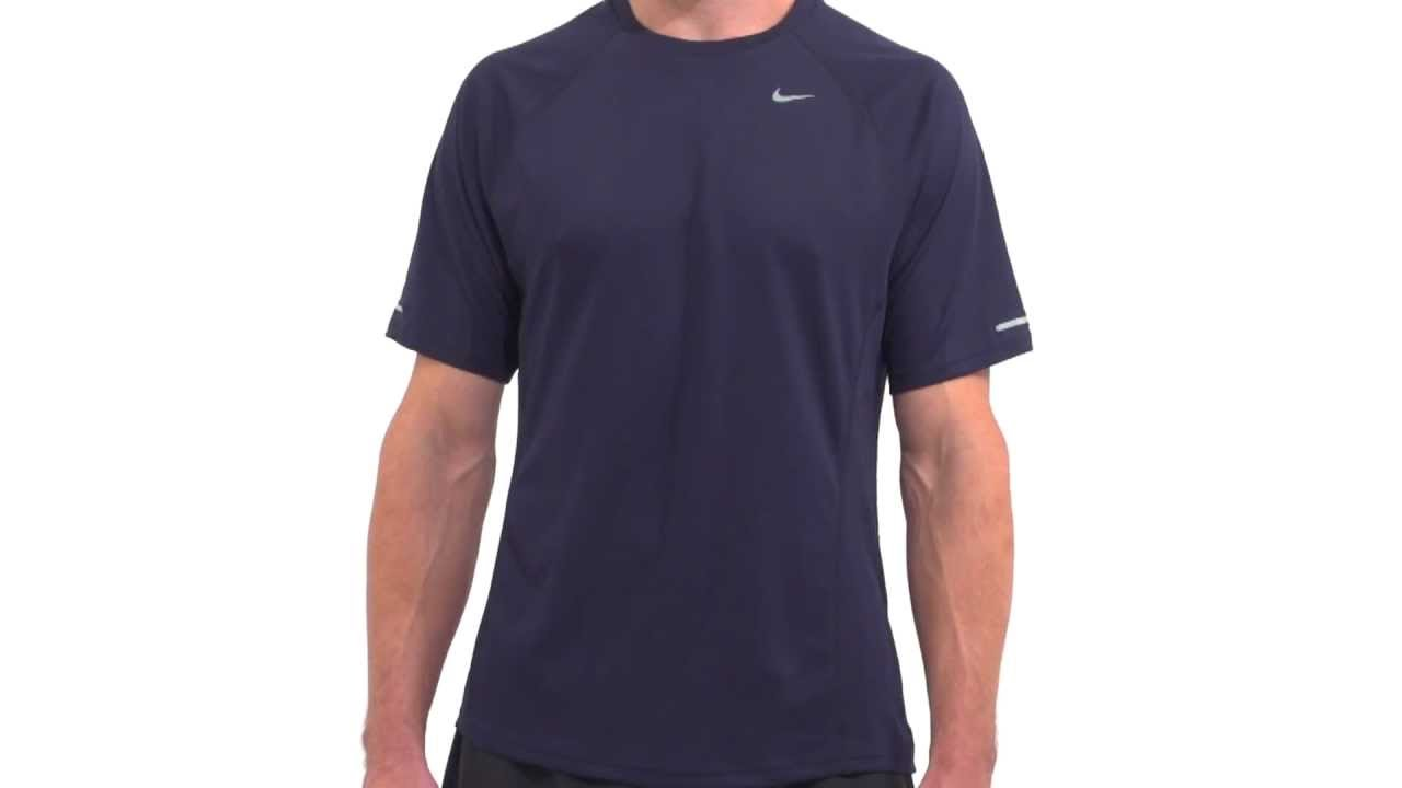 12815c43e6 Nike Men s Miler UV Short Sleeve Performance Shirt - YouTube