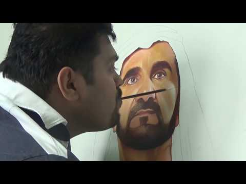 Sheikh Mohammed  and Sheikh Hamdan / Fazza - On Canvas,Oil Painting Done by Jesfer P K