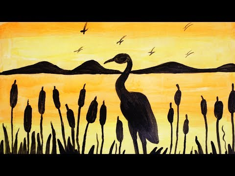 How to Paint a Beautiful Scenery of Sunrise With Crane | Acrylic Landscape Painting | Simple & Easy