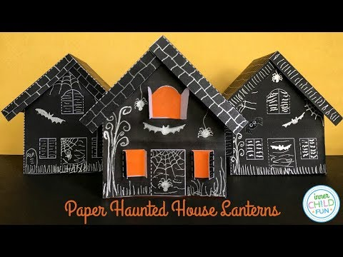 Paper Haunted House Lanterns - Free Printable!