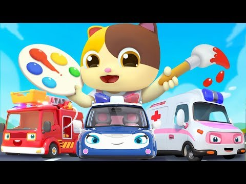 Let's Color The Toy Cars | Police Car, Ambulance | Colors Song | Nursery Rhymes| Kids Songs |BabyBus
