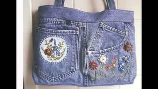 Джинсовые сумки из старых джинсов