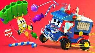 Video truk untuk anak-anak - Truk polisi mencari pikachu! - Truk Super di Kota Mobil!