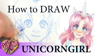 How to sketch a Unicorn Girl Step by step