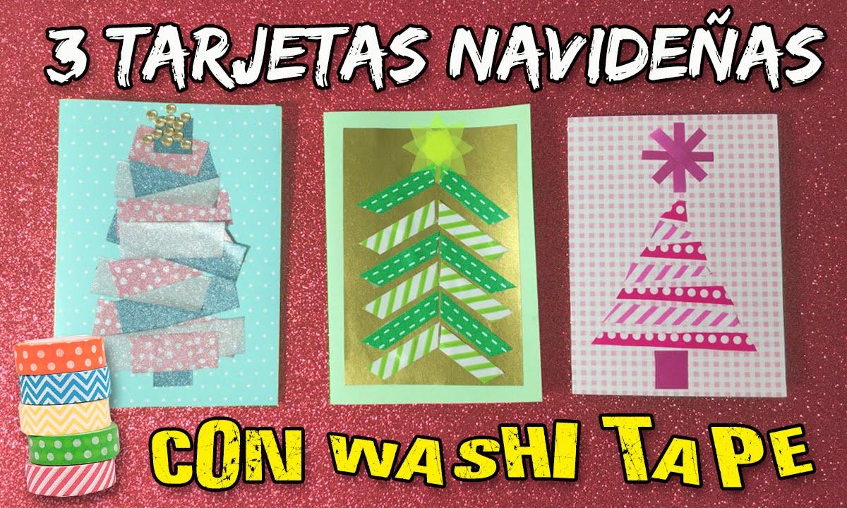 Tarjetas navide as con cinta de papel manualidades for Manualidades navidenas para ninos