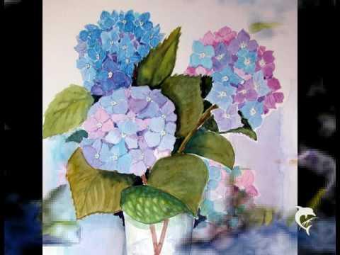 lmalerei Acrylmalerei Aquarelle Blumen  YouTube