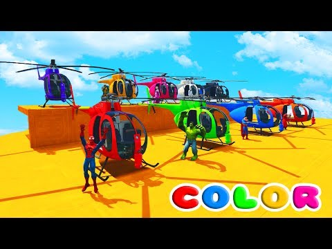 LEARN COLORS HELICOPTERS AND JETSKI ATV w/ Superhereos Fun Animation for Children