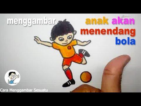 Cara Menggambar Anak Akan Menendang Bola Bagian 1 Youtube