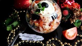 САЛАТ С КОПЧЕНОЙ КУРИЦЕЙ И ПОМИДОРАМИ\\\Salad with smoked chicken and tomatoes