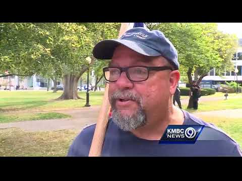 Antifa protesters rally in Kansas City