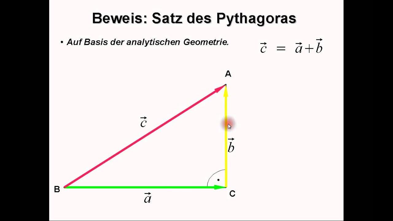 satz des pythagoras durch analytische geometrie beweisen youtube. Black Bedroom Furniture Sets. Home Design Ideas