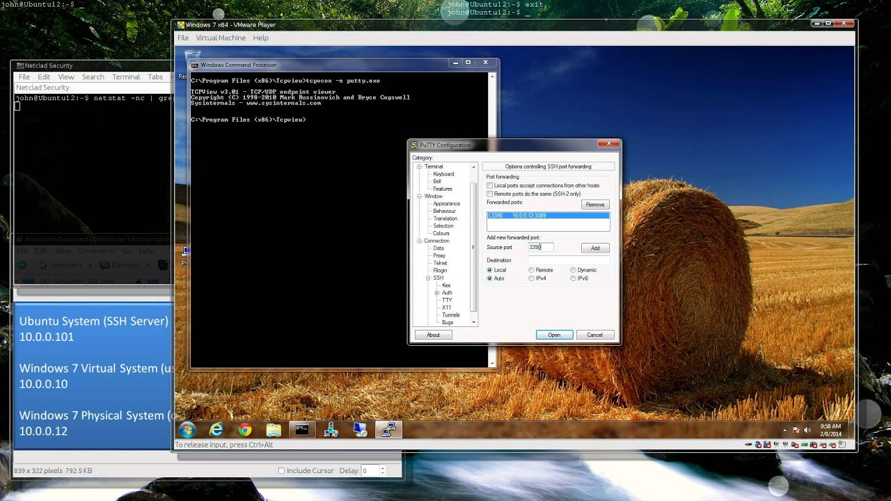 Using SSH as Remote Access to Remote Desktop from the Internet (port  forwarding)