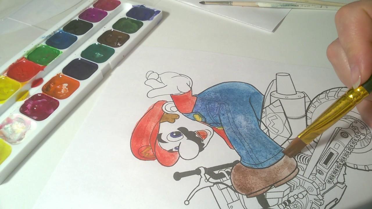 マリオとオートバイ 塗り絵 Youtube