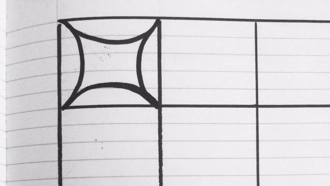 رسم زخرفة صعبة الشكل ولكن سهلة الرسم وبسيطة جدا بدون أدوات فقط مسطرة للمربعات رقم 202 Youtube