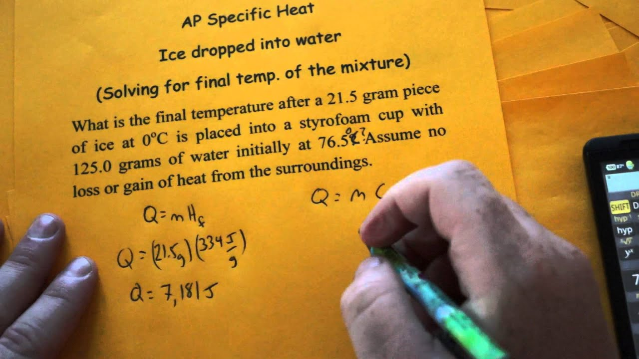 ap specific heat temp dropped into water