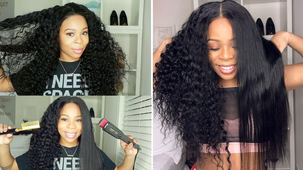 FlatIron Test: Straightening 13x6 Deep Wave Lace Wig