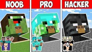 Minecraft NOOB vs PRO vs HACKER : FAMILY MONSTER HEAD BLOCK HOUSE in Minecraft | Animation