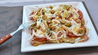 Summer Potato Salad - How To Make A Potato Salad With Tuna, Tomato, Onion, Asparagus & Egg