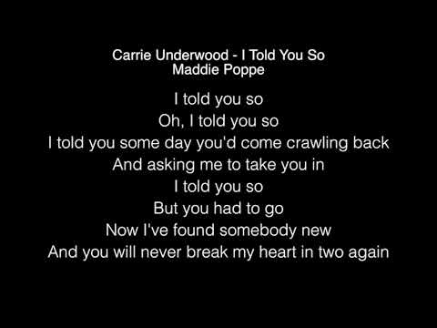 Maddie Poppe - I Told You So Lyrics (Carrie Underwood) American Idol 2018