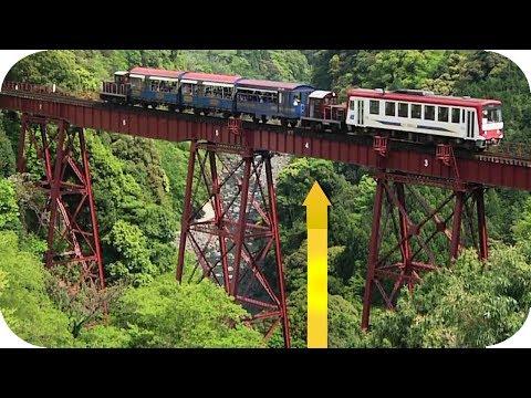 Japan  Aso Minami train bridge  dangerous  Railways tracks in the world