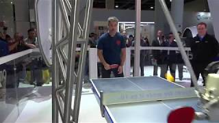 Playing ping pong against Forpheus the Omron robot at CES 2018