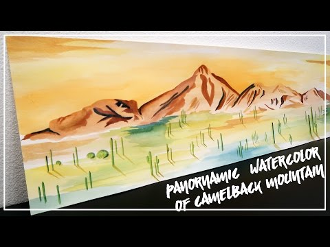 Panoramic Watercolor Painting of Camelback Mountain ♥ Paige Poppe, Artist