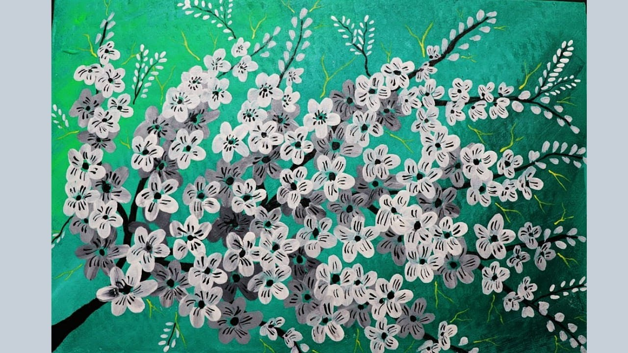 Acrylic Painting on Canvas   White Flower Painting on Canvas   Easy Canvas Painting for Beginners