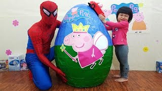 GIANT Surprise Egg PEPPA PIG Opening, Surprise TOYS, Bóc Trứng Peppa Pig Khổng Lồ Lấy Đồ Chơi